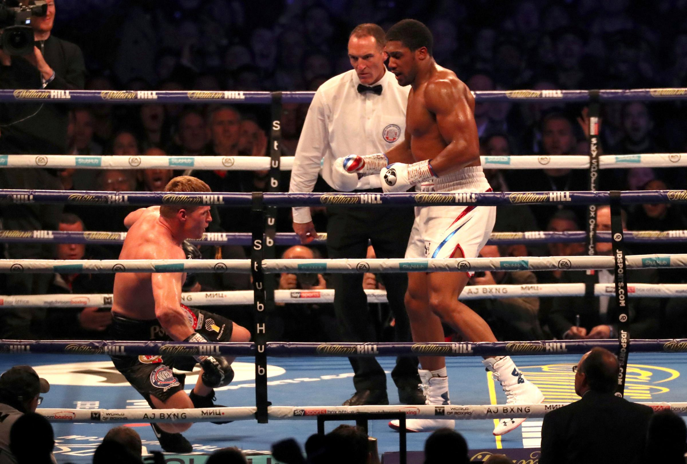 Anthony Joshua floors Alexander Povetkin. Picture: Action Images