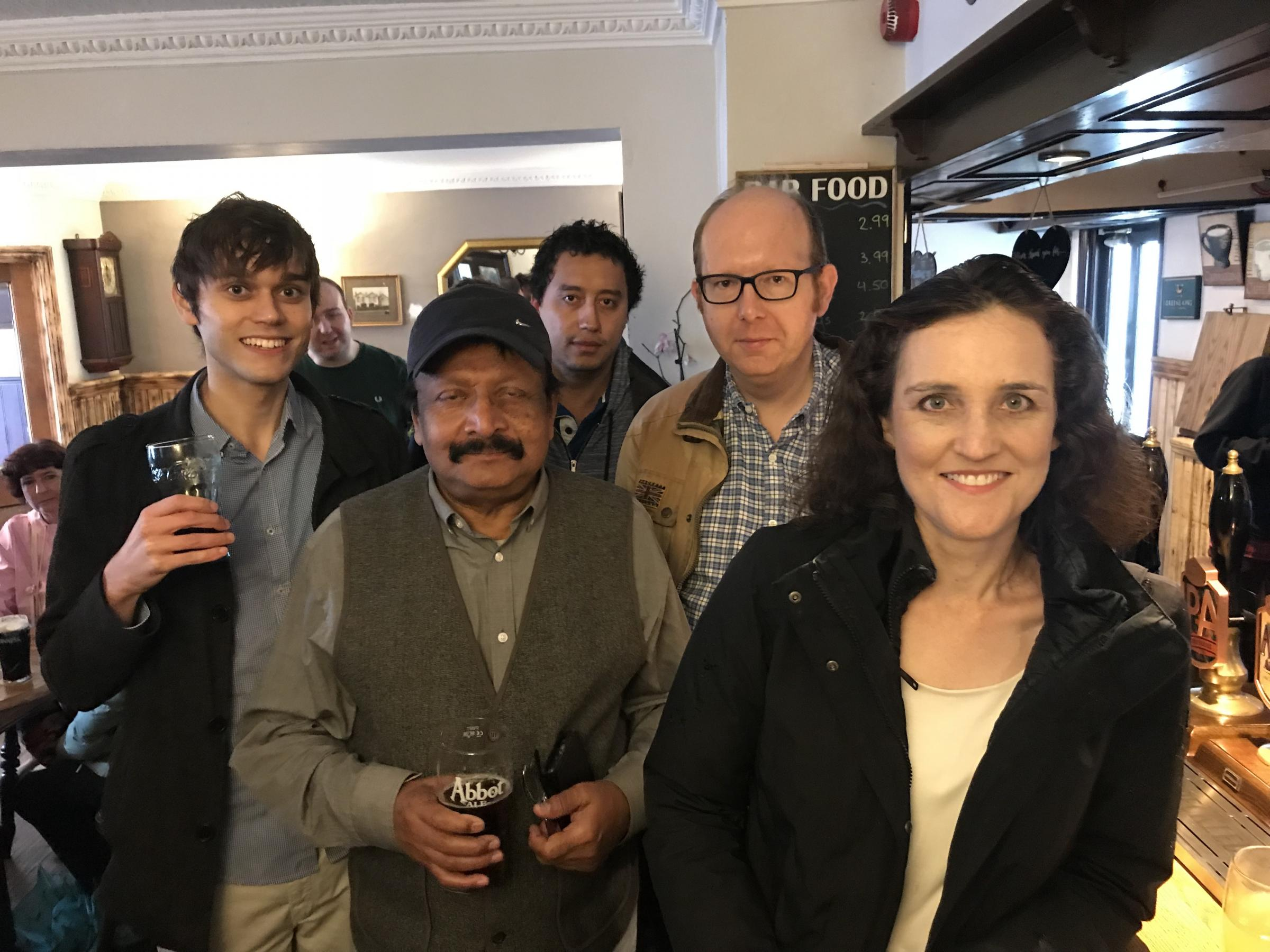 Ms Villiers at the Builders Arms with Cllr Julian Teare, Cllr Felix Byers and other pub customers