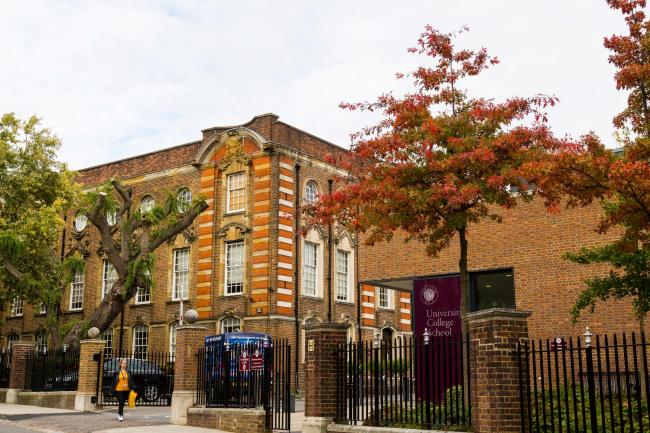 The University College School in Hampstead, North London, which has reconsidered its permission for a limited number of helicopter landings and take-offs from its playing fields after complaints from neighbours