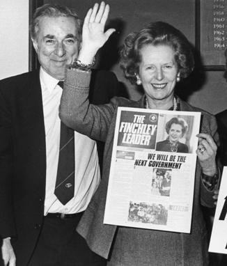 Dennis Signy pictured with Margaret Thatcher after her election as Finchley MP