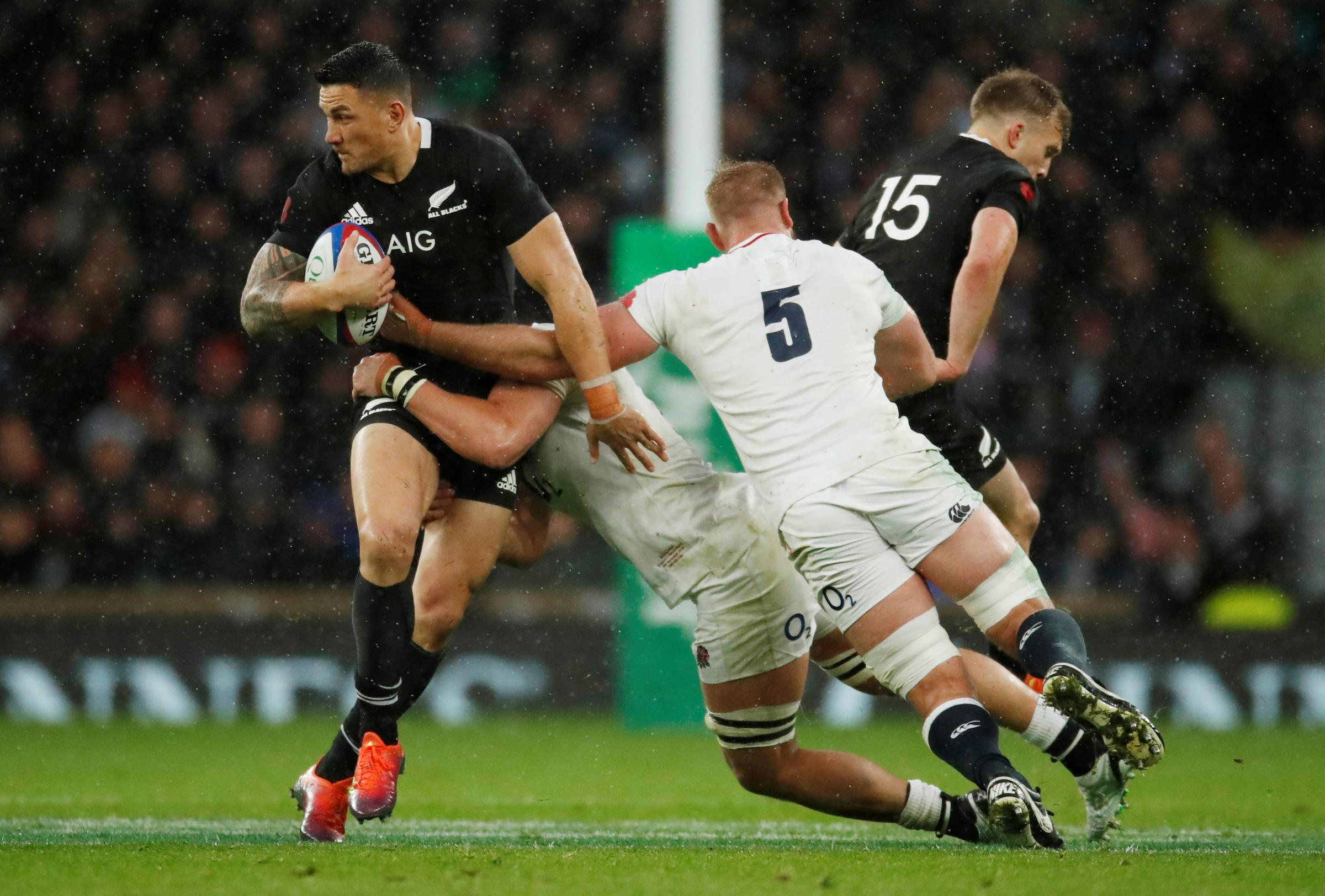 George Kruis tackles Sonny Bill Williams during England's narrow defeat to the All Blacks. Picture: Action Images