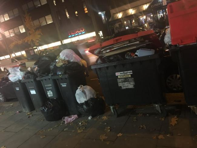 Uncollected bins in Finchley