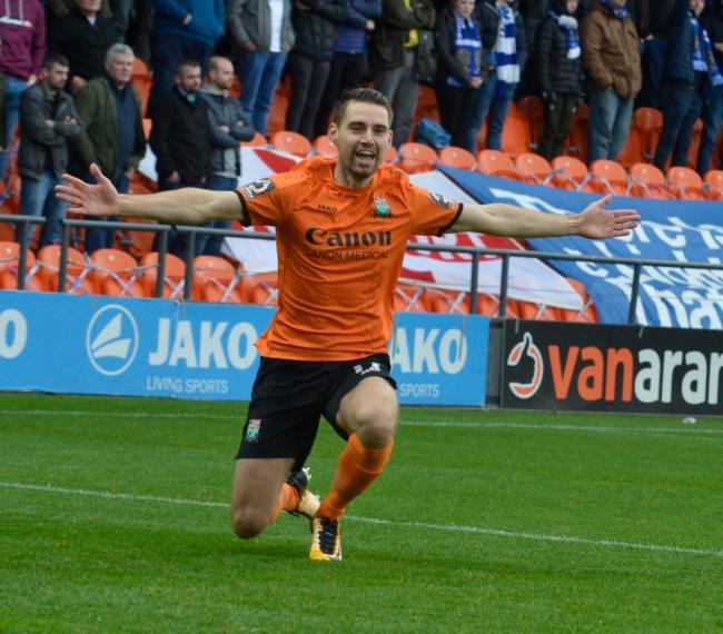 Dan Sparkes celebrates his winner on Sunday. Picture: Len Kerswill