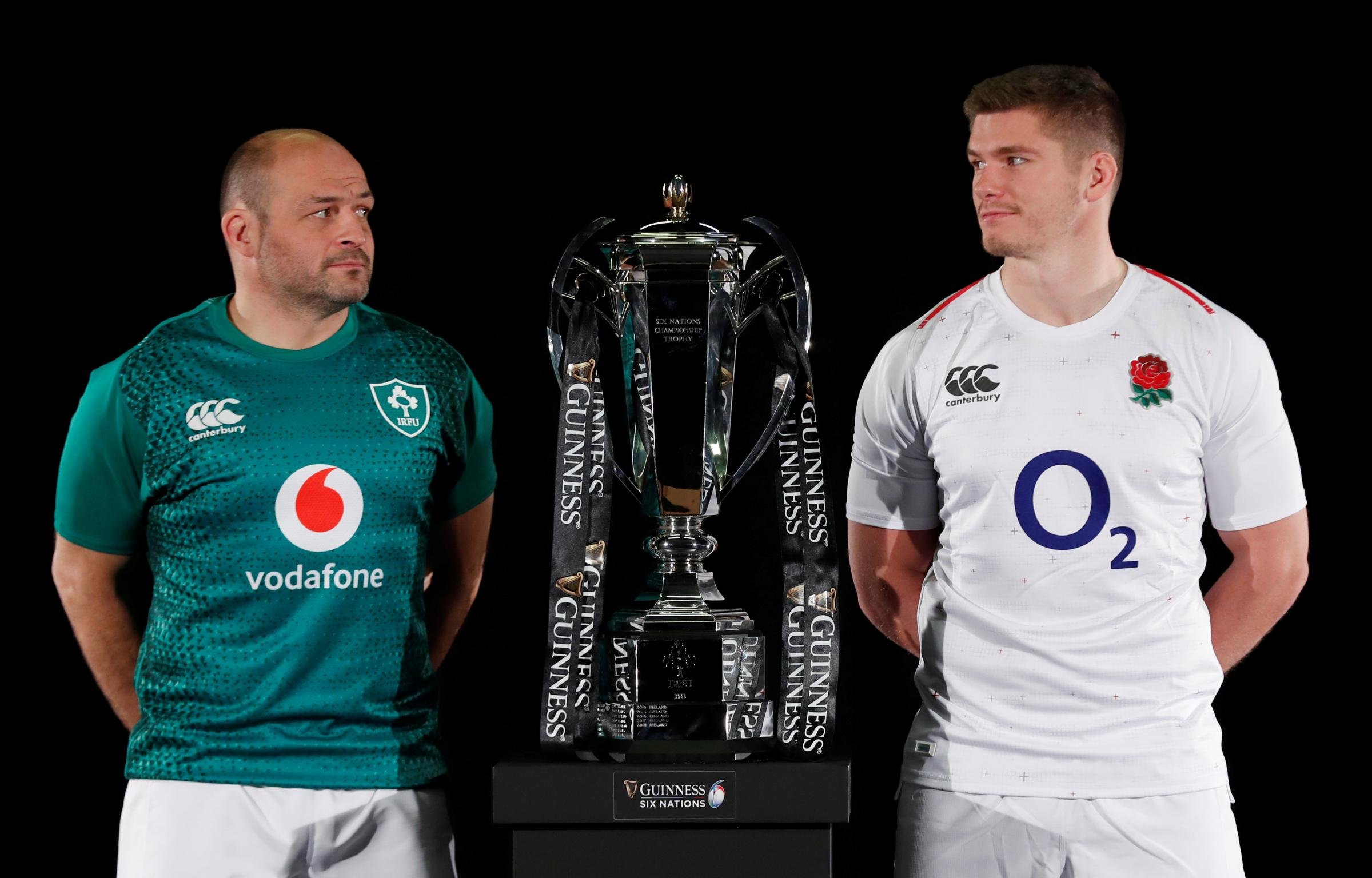 Eye-to-eye: Owen Farrell and Ireland's Rory Best at the Six Nations launch. Picture: Action Images