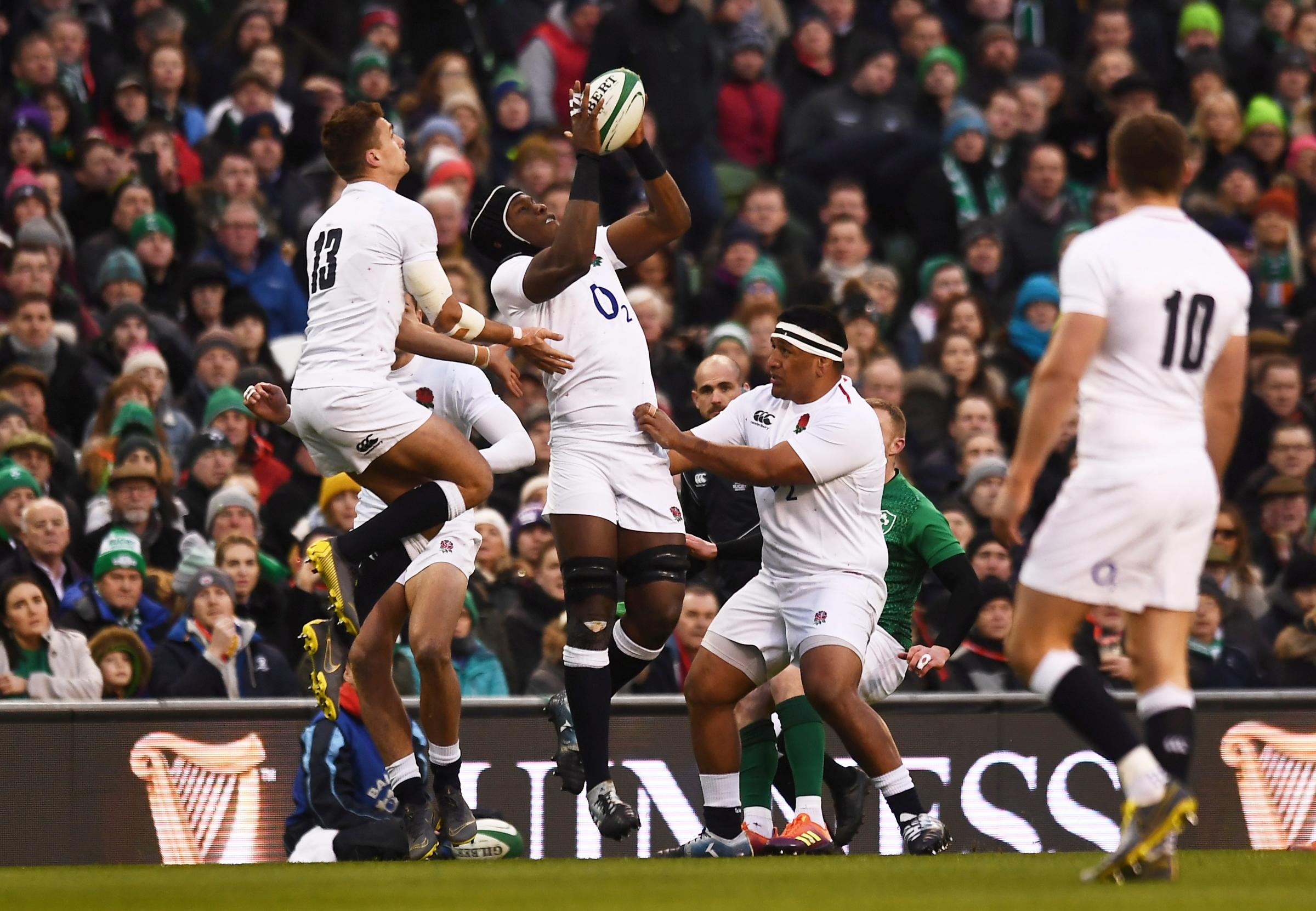 Safe hands: Maro Itoje claims the ball before sustaining his injury in England's win over Ireland. Picture: Action Images