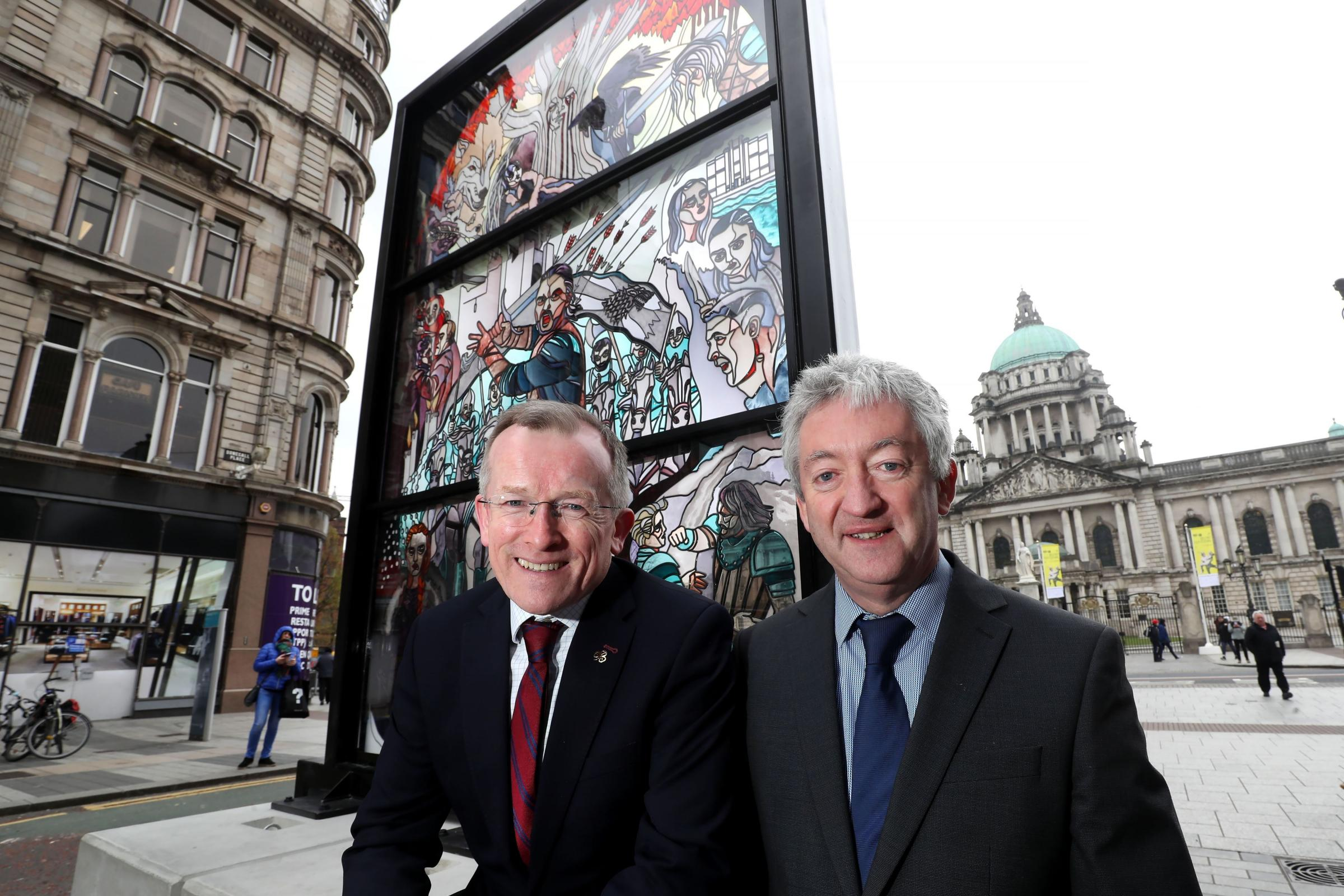 A giant stained glass Game Of Thrones window was unveiled opposite the main entrance to Belfast City Hall