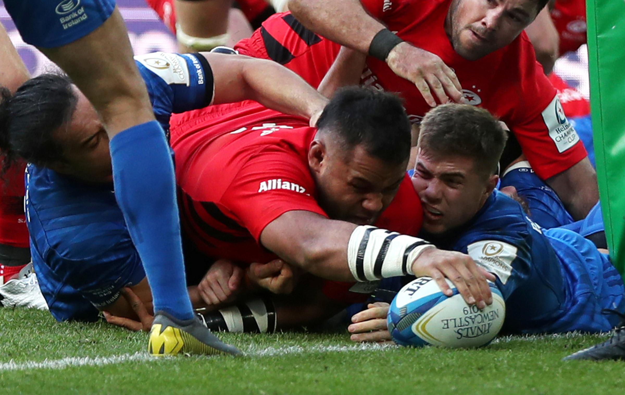 Billy Vunipola reaches out for Saracens' trophy-winning try. Picture: Action Images